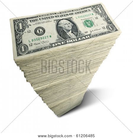 Stack of one-dollar bills on white background
