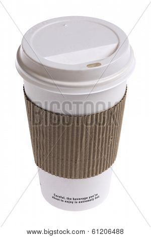 Close up of a Styrofoam cup on white background