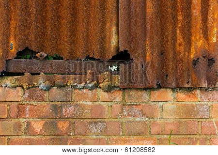 Rusty Corrugated Iron And Brick Wall Background