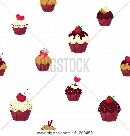 seamless cartoon cake pattern
