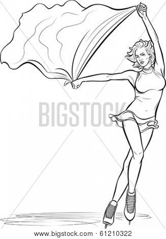 Beautiful ice-skating performer with a flag in her hands. Editable vector illustration.