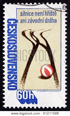 Postage Stamp Czechoslovakia 1978 Tire Tracks And Ball, Road Saf