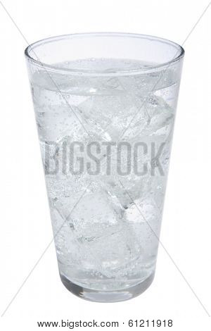 Glass of fizzy water on white background