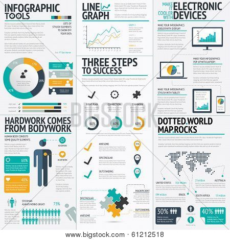 Modern fresh colored business infographic vector illustration elements