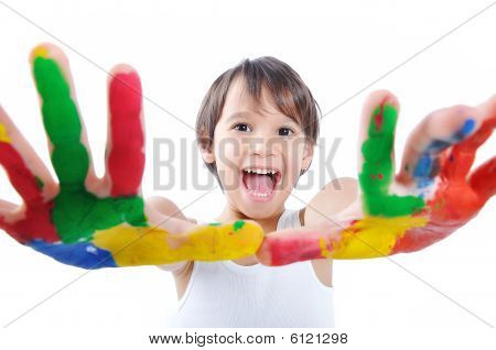 A Little Cute Child With Colors On White