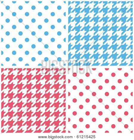 Blue, white and pink vector background set. Houndstooth and polka dots seamless pattern collection