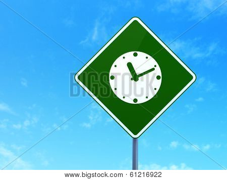 Timeline concept: Clock on road sign background