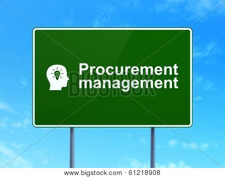 Finance concept: Procurement Management and Head With Light Bulb on road sign background