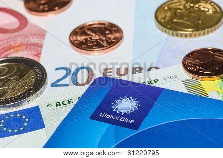 Tax Free Plastic Card From Company Global Blue On Banknotes