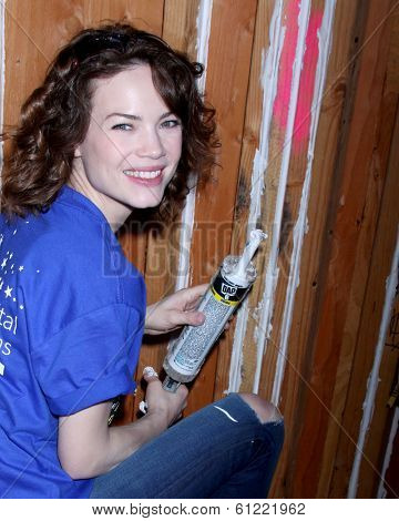 LOS ANGELES - MAR 8:  Rebecca Herbst at the 5th Annual General Hospital Habitat for Humanity Fan Build Day at Private Location on March 8, 2014 in Lynwood, CA