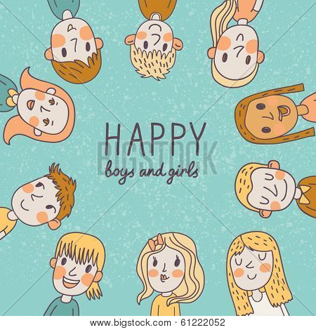 Happy boys and girls. Cute cartoon card in vector