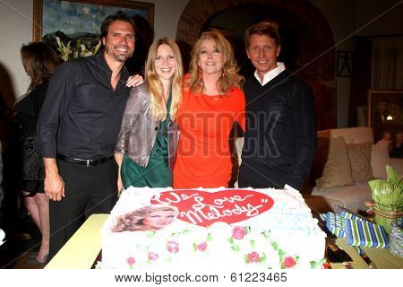 LOS ANGELES - MAR 4:  Joshua Morrow, Lauralee Bell, Melody Thomas Scott, Bradley Bell as Melody Thomas Scott Celebrates 35 yrs at YnR at CBS TV City on March 4, 2014 in Los Angeles, CA