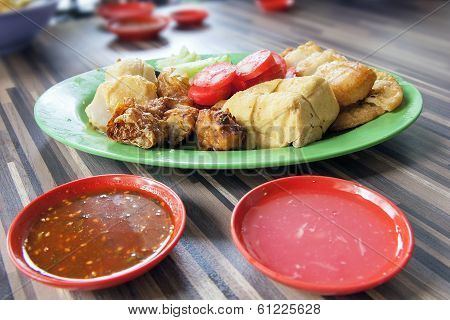 Ngo Hiang Dish With Sausage Tofu Fishballs And Dipping Sauce