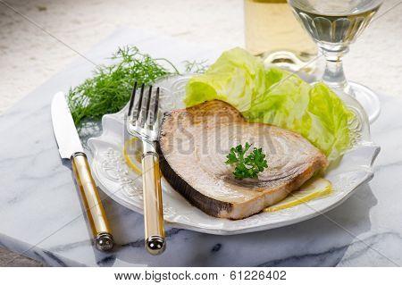 roasted swordfish and salad
