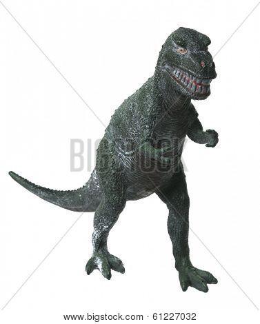 green toy dinosaur on white