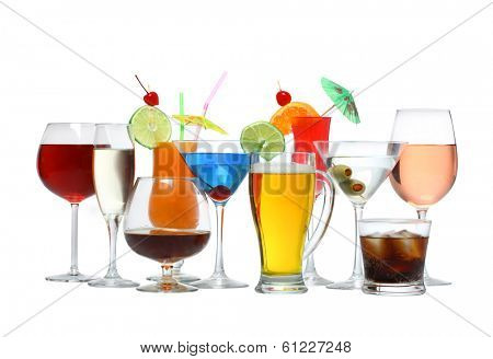 Variety of alcoholic drinks beverages and cocktails cutout, isolated on white background
