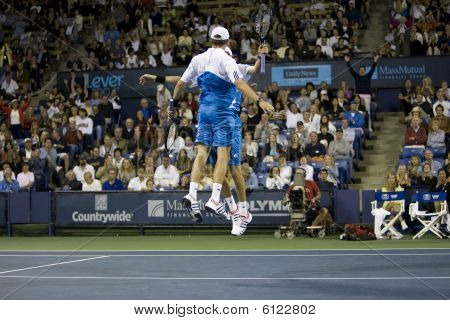 Bob and Mike Bryan Chest Bump at the Los Angeles Tennis Open