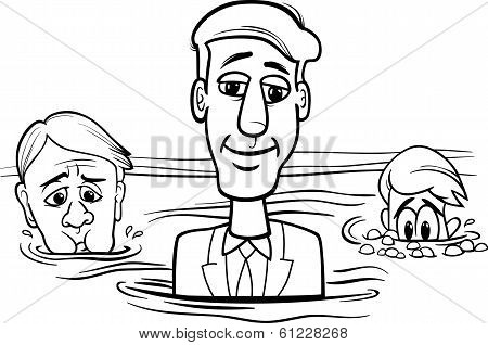 Head Above Water Saying Cartoon
