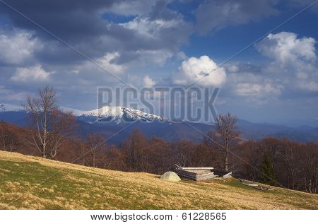 Spring landscape with beautiful clouds. Camping in the mountains. Carpathians, Ukraine, Europe