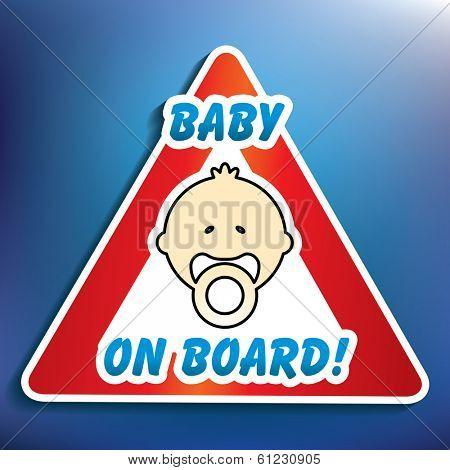 Baby on board sticker - vector illustration