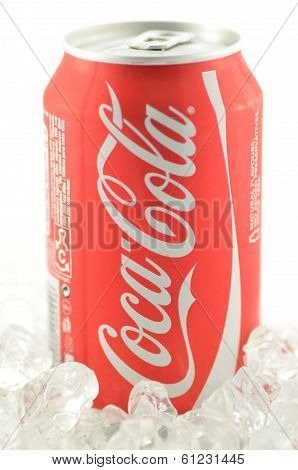 Coca-Cola drink in a can isolated on white background