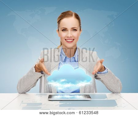 business, technology, internet and office concept - smiling businesswoman with tablet pc computer and cloud projection