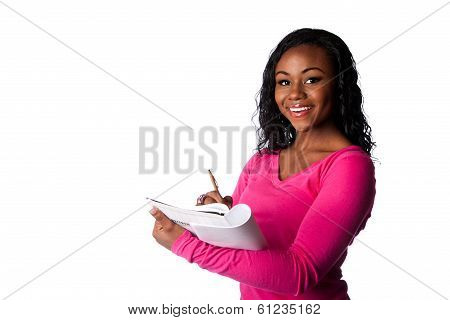 Happy Smart Student With Notebook