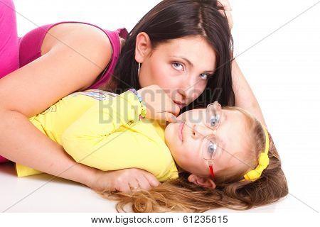 Litle Baby Girl Lying Mom