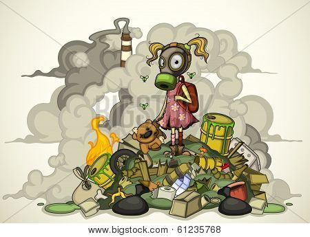 Child in a gas mask standing on a pile of garbage. Isolated
