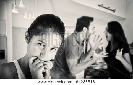 Young Couple Quarreling In The Presence Of His Daughter