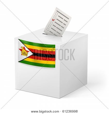 Ballot box with voting paper. Zimbabwe