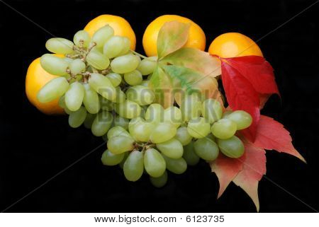 Grapes And Tangerines Close Up
