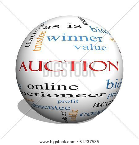Auction 3D Sphere Word Cloud Concept