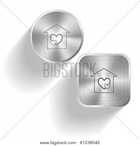 Orphanage. Raster set steel buttons