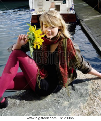 sun flower  girl