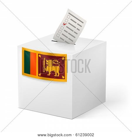 Ballot box with voting paper. Sri Lanka