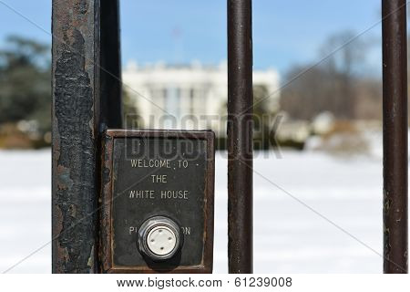 The White House fence detail with embossed