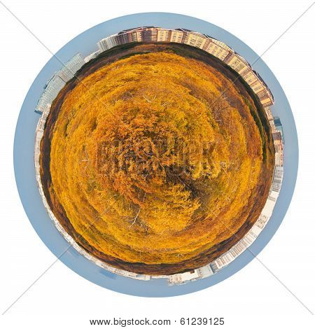 Planet With Yellow Autumn Forest And Urban Houses