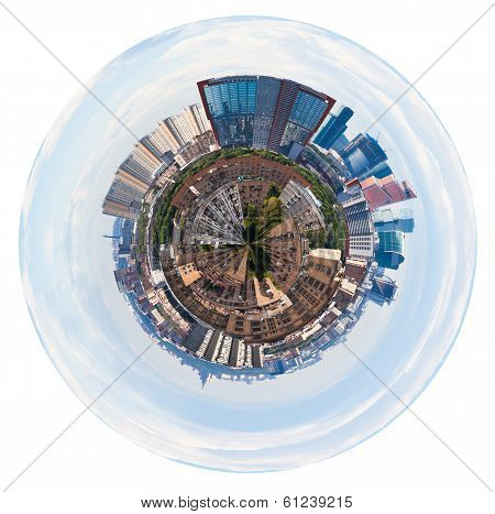 Spherical Panorama Of Moscow With Tower Buildings
