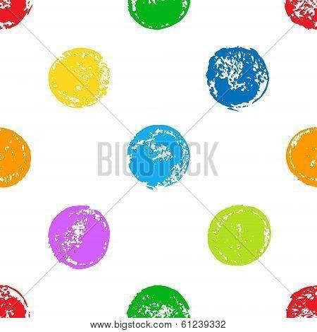 Colorful sponge print polka dot grunge seamless pattern on white, vector