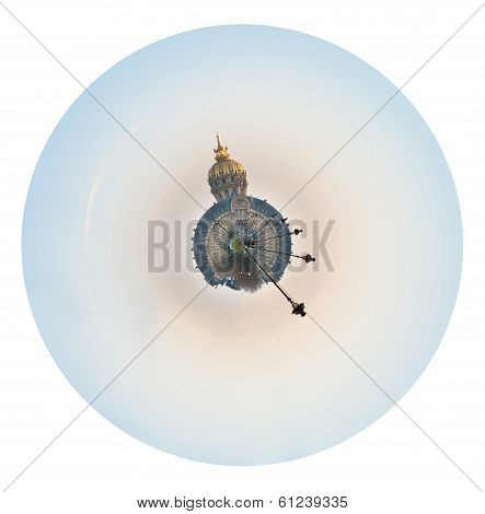 Spherical Panorama Of Paris With Hotel Des Invalides
