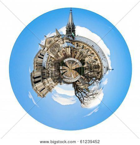 Spherical View Of Cathedral Notre Dame De Paris