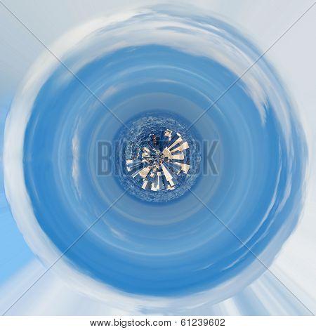 Spherical Panorama Of Paris Under Blue Sky