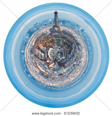 Urban Spherical Skyline Of Paris