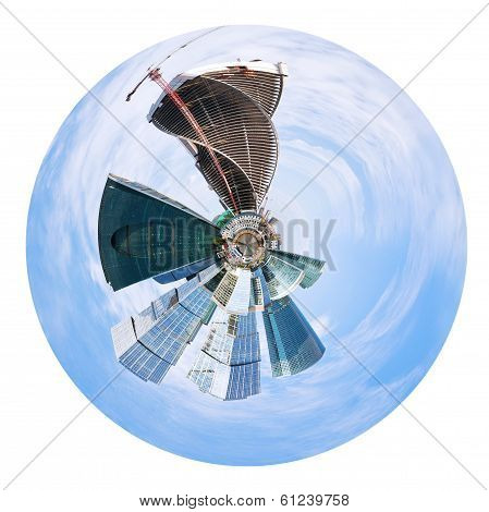 Urban Spherical Panorama Of Moscow City Buildings