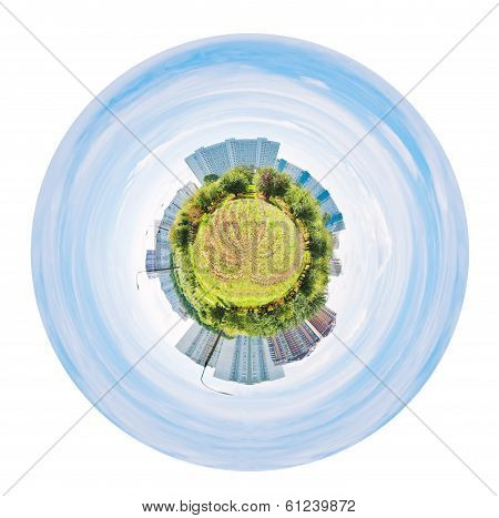 Urban Spherical Panorama Of Garden And Houses
