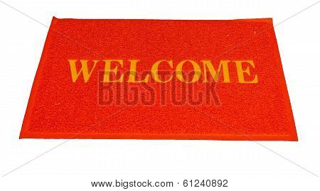 Red Welcome Carpet, Welcome Doormat Carpet Isolated On White.