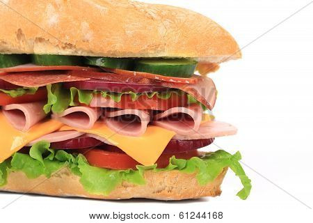Appetizing sandwich with cheese and sausage.