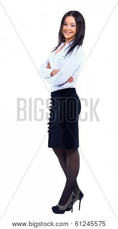 Business woman full body standing isolated on white background