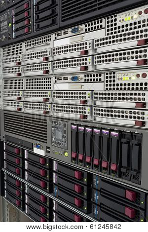 Servers Stack With Hard Drives In A Datacenter